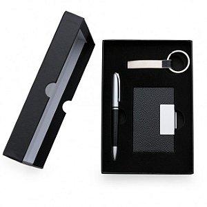 Conjunto executivo caneta, chaveiro e porta cartões - Cód.: 01988XQ