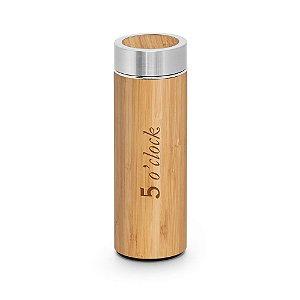 Garrafa térmica inox em bambu 430 ml. personalizada - Cód.: 94683SQ