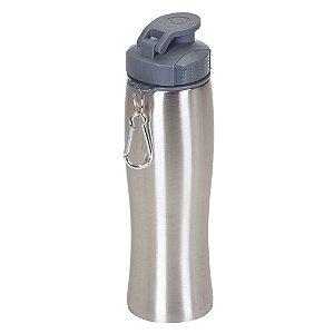 Squeeze inox 750 ml. com mosquetão personalizada - Cód.: 13203XQ