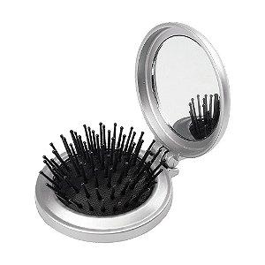 Espelho de bolsa com escova personalizado modelo redondo – Cód.: 00342XQ