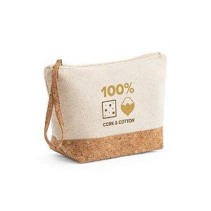 Nécessaire ecológica em algodão cru e cortiça personalizada - Cód.: 92735SQ