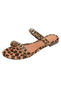 Rasteirinha Feminina Uzze Sapatos Casual Onça