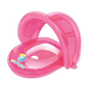 Boia Bote Inflável com Cobertura para Bebê Rosa Bestway