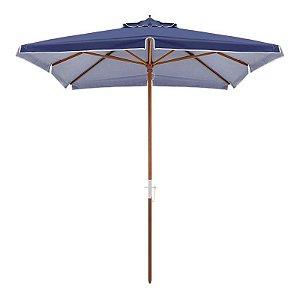 Ombrelone Sardenha Premium Quadrado Bagum Madeira Azul 2,5 metros Belfix