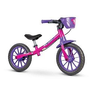 "Bicicleta Infantil Equilíbrio Balance Rosa Aro 12"" Nathor"