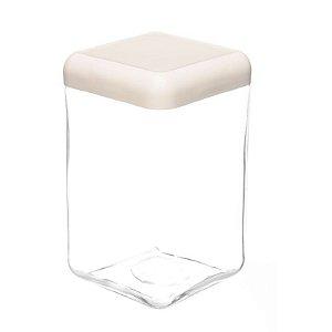 Pote de Vidro Quadrado Tendenza 1,3 litros Branco Invicta