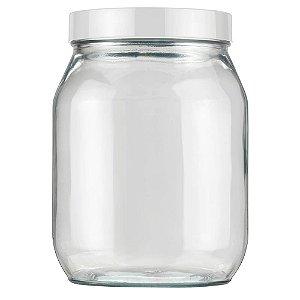 Pote de Vidro Liso 1,3 litros Branco Invicta