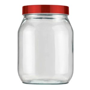 Pote de Vidro Liso 1,3 litros Vermelho Velvet Invicta
