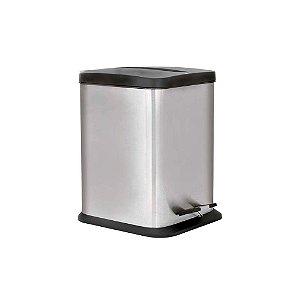 Lixeira Quadrada Aço Inox 6 litros Jaspe Mor