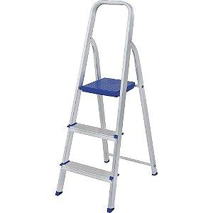 Escada Alumínio Residencial Leve e Resistente 3 Degraus Mor
