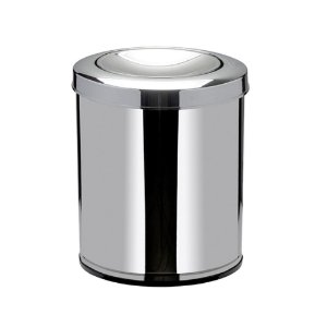 Cesto de Lixo Inox com Tampa Basculante Preto 15 litros Viel