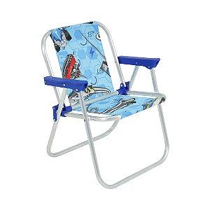 Cadeira de Praia Infantil Alumínio Hot Wheels Azul Belfix