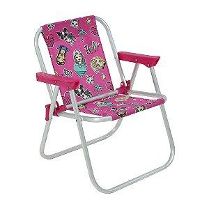 Cadeira de Praia Infantil Alumínio Barbie Rosa Belfix