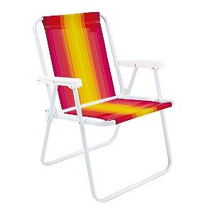 Cadeira De Praia E Piscina Alta Aço Reforçada Mor 110kg