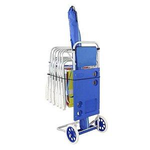 Carrinho de Praia Mesa Porta Cadeiras Alumínio Belfix