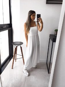 vestido midi off white ilumine