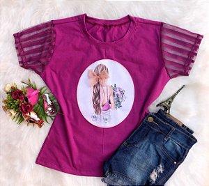 T-Shirt Menina Rosa