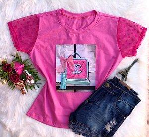 T-Shirt Bolsa Rosa