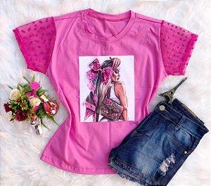 T-Shirt Menina de Laço Rosa