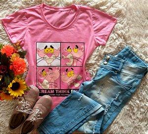 Tshirt Pantera com de rosa