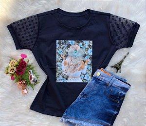 T-shirt menina azul