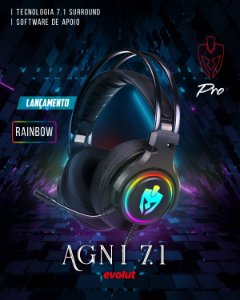 Headset Gamer Agni 7.1 USB Rainbow EG340 Evolut