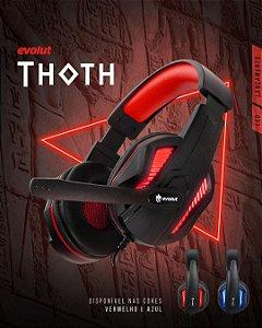 Headset Gamer Thoth Led Vermelho P2 EG305RD Evolut