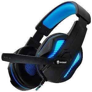 Headset Gamer Thoth Led Azul P2 EG305BL Evolut