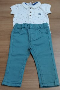 Conjunto Calça Brim e Camiseta Polo - 3 Meses
