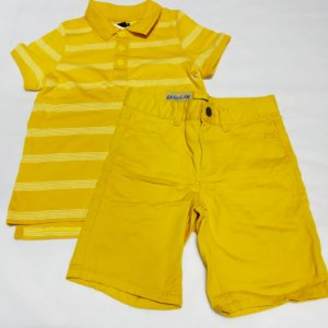 Conjunto Infantil Menino Bermuda com Pólo Etiqueta Amarela 06 anos