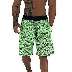Bermuda Masculina Moletom MXD Conceito Camuflado Pontilhado Verde