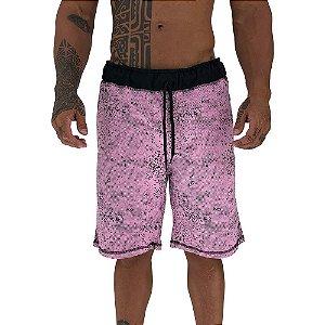 Bermuda Masculina Moletom MXD Conceito Pontos Corroídos Rosa