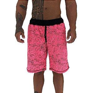 Bermuda Masculina Moletom MXD Conceito Pontos Corroídos Rosa Pink