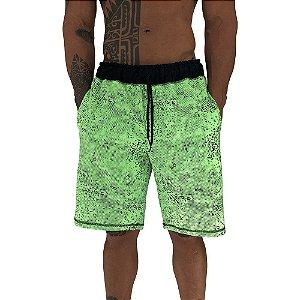 Bermuda Masculina Moletom MXD Conceito Pontos Corroídos Verde