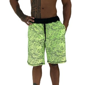 Bermuda Masculina Moletom MXD Conceito Pontos Corroído Verde Fluorescente