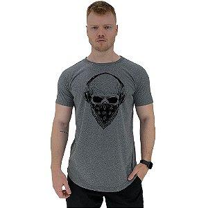 Camiseta Longline Manga Curta MXD Conceito Caveira Com Bandana