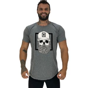 Camiseta Longline Masculina Manga Curta MXD Conceito Caveira Lenhadora