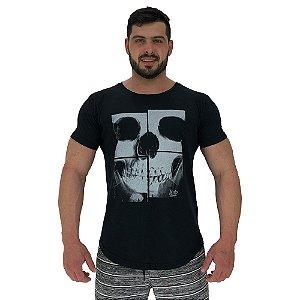 Camiseta Longline Masculina Manga Curta MXD Conceito Caveira Mosaico