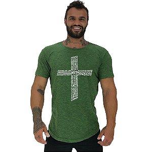 Camiseta Longline Masculina Manga Curta MXD Conceito Crucifixo Motivacional
