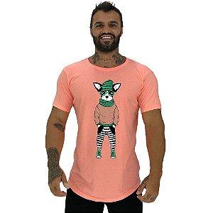 Camiseta Longline Masculina Manga Curta MXD Conceito Stylish Dog