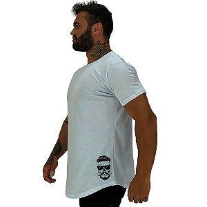 Camiseta Longline Masculina MXD Conceito Estampa Lateral Caveira Bigode e Óculos