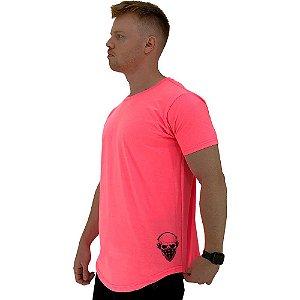 Camiseta Longline Masculina MXD Conceito Estampa Lateral Caveira Headphone e Máscara