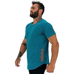 Camiseta Longline Masculina MXD Conceito Estampa Lateral Hardcore Pincel Vertical