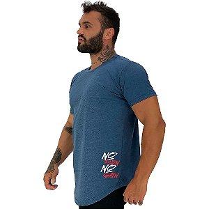 Camiseta Longline Masculina MXD Conceito Estampa Lateral No Pain No Gain Vertical