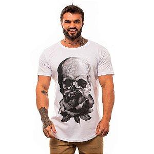 Camiseta Longline Masculina MXD Conceito Limitada Caveira e Rosa Das Trevas