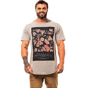 Camiseta Longline Masculina MXD Conceito Limitada Dark Skull and Flowers