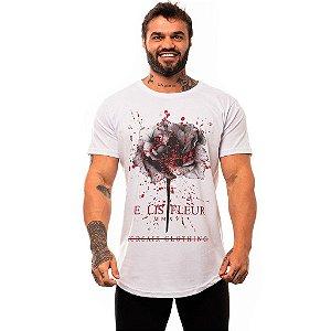 Camiseta Longline Masculina MXD Conceito Limitada De Lis Fleur Flower Black & Red