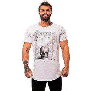 Camiseta Longline Masculina MXD Conceito Limitada Escritura da Caveira com Sangue