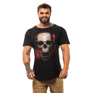 Camiseta Longline Masculina MXD Conceito Limitada Evil Skull