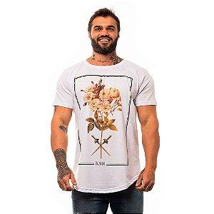 Camiseta Longline Masculina MXD Conceito Limitada Flowers & Swords